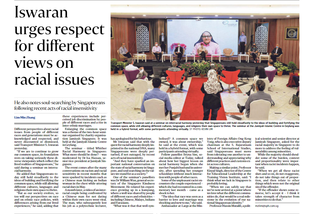 Iswaran urges respect for different views on racial issues – coverage by The Sunday Times