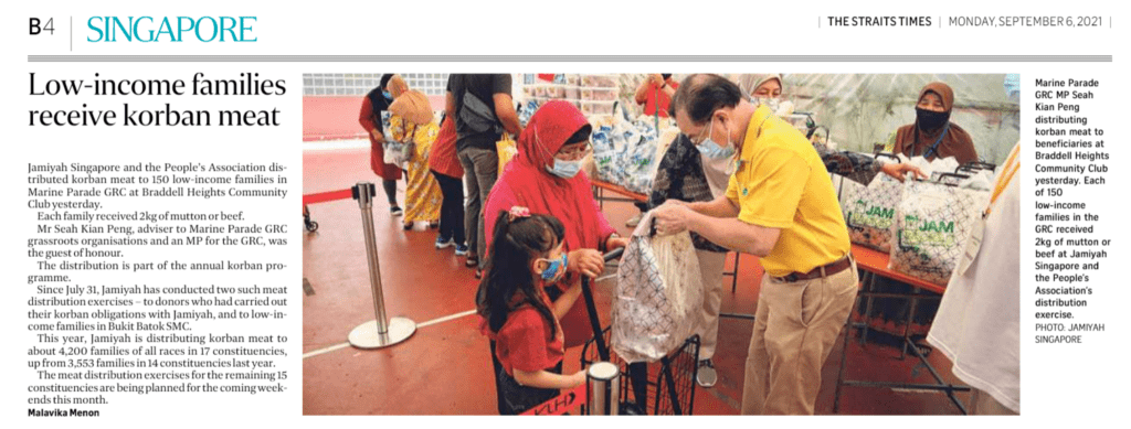 Low-income families receive korban meat – coverage by The Straits Times